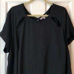 Flyaway back shoulder cutout blouse